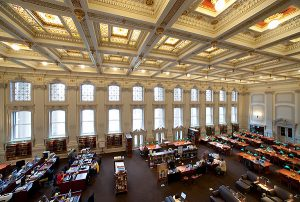 A favorite place for University of Wisconsin-Madison students to study, the Wisconsin Historical Society library reading room is pictured on April 12, 2010, following an extensive $2.1 million renovation. During the past year, the library space was restored to much of its 1900s-era grandeur -- including re-gilded ornate ceiling details and use of period-style light fixtures -- and updated to meet contemporary electrical and communications needs. The University of Wisconsin contributed $230,000 to help furnish the room once construction was finished. ©UW-Madison University Communications 608/262-0067 Photo by: Jeff Miller Date:  04/10    File#:  NIKON D3 digital frame 59