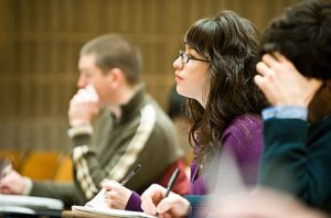 A student in professor Anthony Ives zoology class takes notes on April 2, 2008 at the University of Wisconsin-Madison. ©UW-Madison University Communications 608/262-0067 Photo by: Bryce Richter Date:  04/08    File#:   D3 digital camera frame 2392