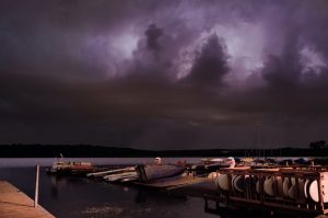 Lake Wingra, night, storm